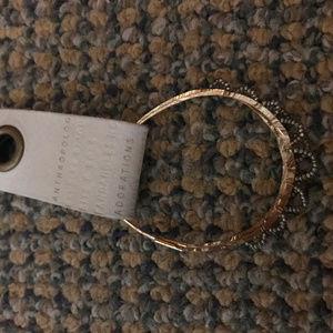 Anthropologie Gold hammered hoop earrings